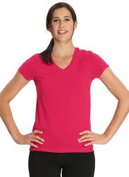 Jockey Ladies 24X7 Short Sleeve V-Neck T-Shirt for Women, Extra Large, Ruby