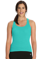Jockey Ladies 24X7 Racer Back Tank Top for Women, Small, Teal Melange