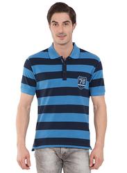 Jockey Men's USA Originals Half Sleeve Polo T-Shirt, US93-0103, Small, Navy Blue/Persian Blue
