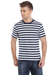 Jockey Men's 24X7 Crew Neck Tee T-Shirt, 2715-0105, Small, Navy/White