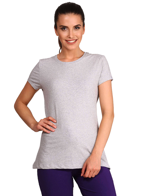 Jockey Ladies 24X7 Short Sleeve T-Shirt for Women, Medium, Light Grey Melange