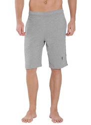 Jockey Men's 24X7 Double Stripe Detail Knit Sport Shorts Large, Grey Melange/Navy Blue