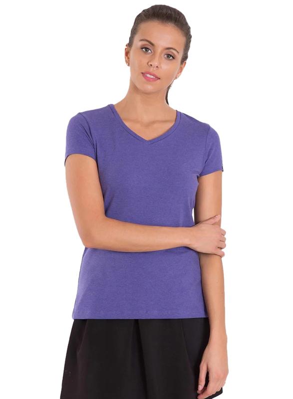Jockey Ladies 24X7 Short Sleeve V-Neck T-Shirt for Women, Extra Large, Charcoal Melange