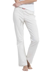 Jockey Ladies USA Original Slim Fit Long Pants for Women, Large, Cream Melange