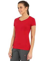 Jockey Ladies 24X7 Short Sleeve V-Neck T-Shirt for Women, Extra Large, Jester Red