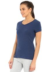 Jockey Ladies 24X7 Short Sleeve V-Neck T-Shirt for Women, Extra Large, Medieval Blue Melange