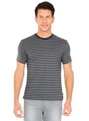 Jockey Men's 24X7 Crew Neck Tee T-Shirt, 2715-0105, Small, Navy/Charcoal Melange