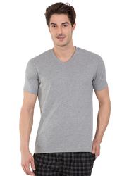 Jockey Men's 24X7 Short Sleeve V-Neck T-Shirt, 2726-0105, Medium, Grey Melange