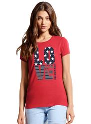 Jockey Ladies USA Originals Short Sleeve Crew Neck T-Shirt for Women, Medium, Hibiscus Print001