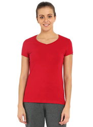 Jockey Ladies 24X7 Short Sleeve V-Neck T-Shirt for Women, Extra Large, Jester Red