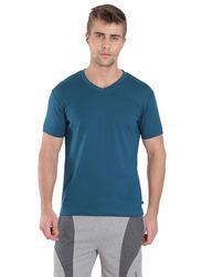 Jockey Men's 24X7 Short Sleeve V-Neck T-Shirt, 2726-0105, Medium, Seaport Teal