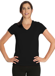 Jockey Ladies 24X7 Short Sleeve V-Neck T-Shirt for Women, Extra Large, Black