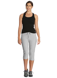Jockey Ladies 24X7 Capri Pants for Women, Small, Light Grey Melange
