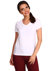 Jockey Ladies 24X7 Short Sleeve V-Neck T-Shirt for Women, Extra Large, White
