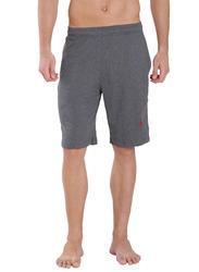 Jockey Men's 24X7 Double Stripe Detail Knit Sport Shorts Large, Charcoal/Shanghai Red
