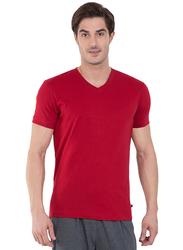 Jockey Men's 24X7 Short Sleeve V-Neck T-Shirt, 2726-0105, Medium, Shanghai Red