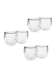 Liying 80ml 6-Piece Set Glass Heat Resistant Tea Cup, 9 x 9 x 7cm, Clear