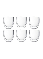 80ml 6-Piece Set Glass Double Wall Everyday Drinkware Glass, Clear
