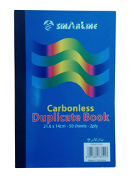 Sinarline Carbonless Duplicate Book, 2 Ply, 50 Sheets, 21.6 x 14cm, A5 Size, 6 Pieces, Blue