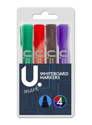 U Mark 4-Piece Whiteboard Erasable Marker, Multicolor