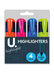 U Mark 4-Piece Chisel Tips Highlighter, Multicolor