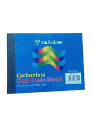 Sinarline Carbonless Duplicate Book, 2 Ply, 50 Sheets, 10.8 x 14cm, A6 Size, 12 Pieces, Blue