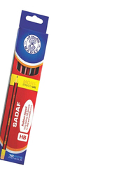 Sadaf 12-Piece HB Pencil with Eraser, Red