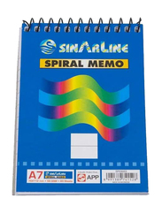 Sinarline Spiral Memo Pad, 50 Sheets, A7 Size, 12 Pieces, Blue