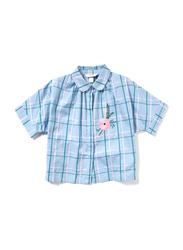 Poney Short Sleeve Shirt for Girls, 7-8 Years, Blue