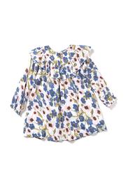 Poney Long Sleeve Dress for Girls, 6-12 Months, Blue