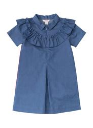 Poney Short Sleeve Dress for Girls, 4-5 Years, Denim Blue