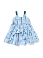 Poney Sleeveless Dress for Girls, 6-12 Months, Blue