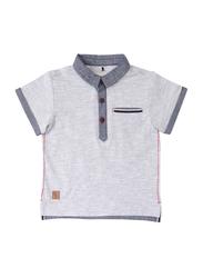 Poney Short Sleeve Polo Shirt for Boys, 18-24 Months, Grey