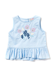 Poney Sleeveless Blouse Top for Girls, 1-2 Years, Blue