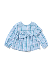 Poney Long Sleeve Blouse Top for Girls, 18-24 Months, Blue