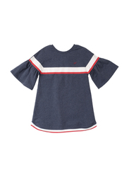 Poney 3/4 Sleeve Dress for Girls, 4-5 Years, Blue