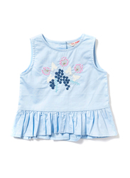 Poney Sleeveless Blouse Top for Girls, 0-6 Months, Blue