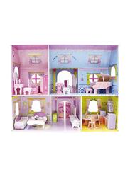 Magic Puzzle 92-Pieces Pink Princess Castle Double Deck 3D Paper Cardboard Jigsaw Puzzle
