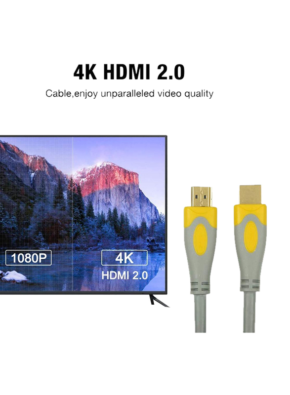 UK Plus 5-Meter 4K HDMI Cable, HDMI Male to HDMI for UHD TV/Blu-Ray/Xbox/PS4/PS3/PC, Grey/Yellow