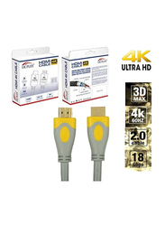 UK Plus 3-Meter 4K HDMI Cable, HDMI Male to HDMI for UHD TV/Blu-Ray/Xbox/PS4/PS3/PC, Grey/Yellow