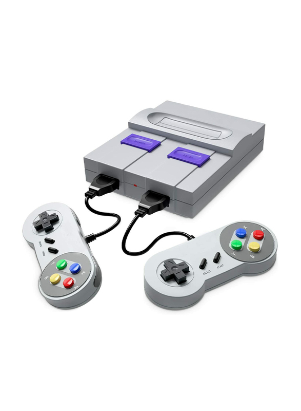 UK Plus KidKit Retro Game Console, With Built-in 400 Classic Games and Two Joysticks, Grey