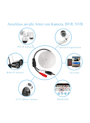 UK Plus A1 Microphone for CCTV Camera with 1 to 2 Power Splitter Cable for IP Camera, DVR, NVR, Camera Audio Pickup Device, White