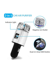 UK Plus Car Air Purifier, Ionizer Deodorizer and Ionic Air Freshener with Dual USB Charger Portable Travel Charger for Automobile, Silver/Black