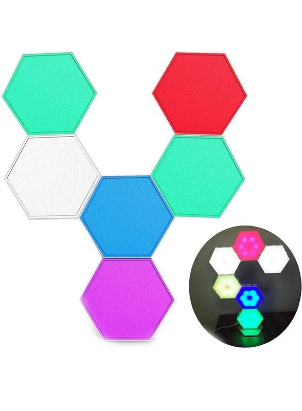 UK Plus Hexagon Splicing RGB Hexagonal Touch Sensitive Wall Lights, Multicolor