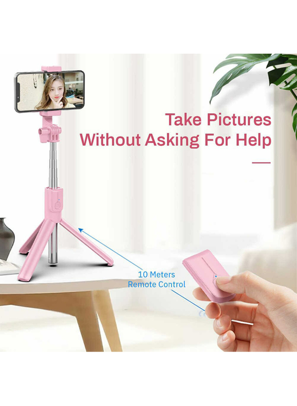 UK Plus Wireless Selfie Stick Tripod with Remote for Smartphones, Pink
