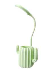 UK Plus Cactus USB Rechargeable LED Reading Light with Stationery Holder, Green