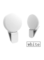UK Plus Portable Mini Rechargeable Selfie Ring Light for Smartphones, White