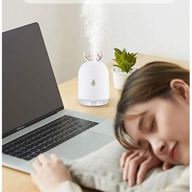 UK Plus Cute Deer Horn Air Purifier, Aroma Diffuser, 300ml, with USB Charge and Eye Friendly Multi-Light Night, White