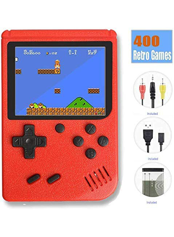 UK Plus Retro Pocket Mini Handheld Game Console, With Built-in 400 Classic Games, Red