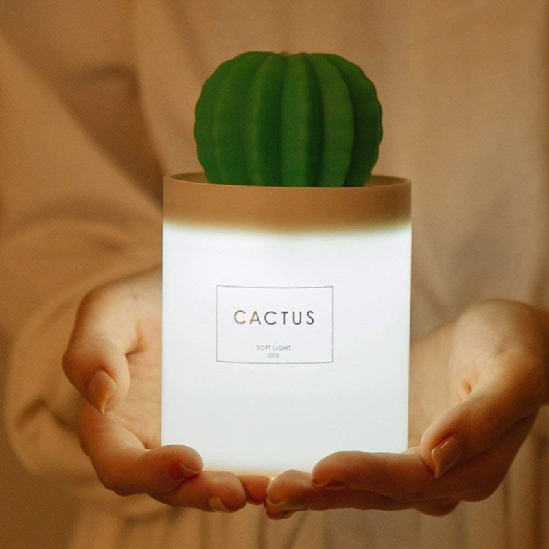UK Plus USB Cool Mist Mini Size Cactus Humidifier, 280ml, with Night Light, White/Green